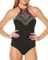 Laundry by Shelli Segal Halter Print One-Piece Swimsuit