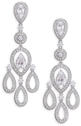 Adriana Orsini Pave Pear Chandelier Earrings/Silvertone