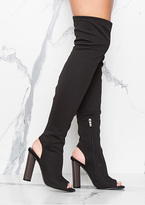 Missy Empire Deana Black Cut Out Over Knee Boots