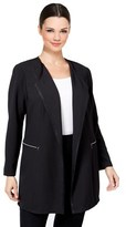 Tahari by Arthur S. Levine Crepe Zip Pocket Open Front Long Jacket.