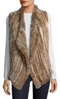 Saks Fifth Avenue Asymmetrical Rabbit Fur Vest