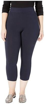 Hue Plus Size Wide Waistband Blackout Cotton Capri Leggings (Black) Women's Casual Pants