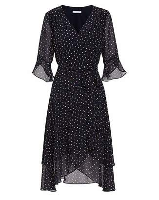 Gina Bacconi Franny Spot Chiffon Dress
