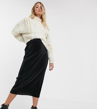 ASOS DESIGN Maternity plisse midi column skirt in black