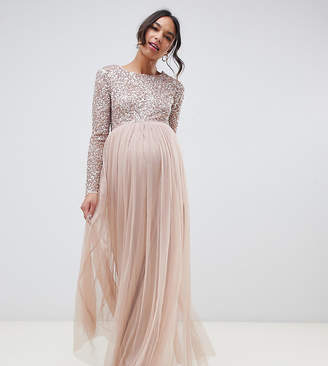 Maya Maternity Bridesmaid long sleeved maxi dress with delicate sequin and tulle skirt-Brown