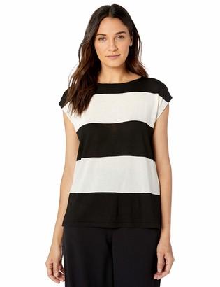 Anne Klein Women's Cap Sleeve Striped Sweater TOP