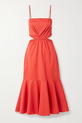 Johanna Ortiz Summer Luck Cutout Cotton-blend Poplin Midi Dress - Red