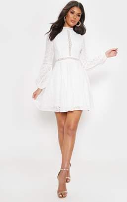 PrettyLittleThing White Lace Long Sleeve Skater Dress
