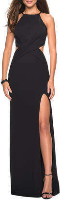 La Femme Halter-Neck Jersey Dress with Ruched Waist & Side Cutouts