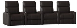 Latitude Run Home Theater Row Seating (Row of 4 Body Fabric: Smartsuede Java, Reclining Type: Manual