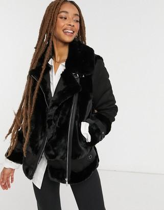 Morgan faux fur oversized contrast biker jacket in black