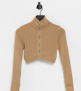 ASOS DESIGN Petite zip through crop cardigan in camel