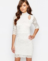 TFNC High Neck Lace Dress with Cold Shoulder Detail