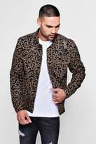 Skinny Fit Leopard Print Denim Jacket