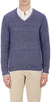 Piattelli MEN'S MARLED V-NECK SWEATER-PURPLE SIZE L