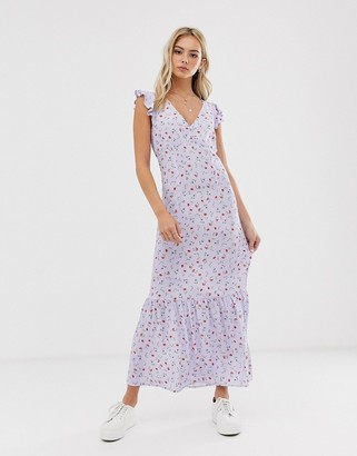 Pimkie floral print midi dress in lilac-Purple
