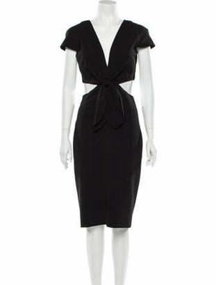 HANEY Plunge Neckline Midi Length Dress Black