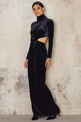 NA-KD Velvet High Neck Long Dress Black