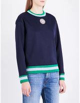 Sandro Embellished-patch sports-jersey sweatshirt