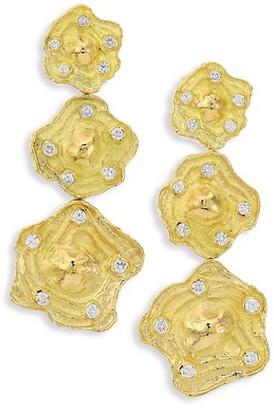 Katy Briscoe Wave 18K Yellow Gold Diamond Triple-Drop Clip-On Earrings