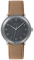 Junghans 027/3401.00 Max Bill Automatic Stainless Steel Leather Strap Watch, Tan/grey