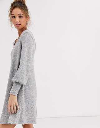 Asos Design DESIGN Long sleeve super soft mini smock dress-Grey