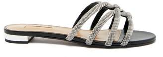 Aquazzura Moondust Crystal-embellished Suede Sandals - Black Silver