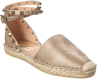 Valentino Rockstud Leather Ankle Strap Espadrille