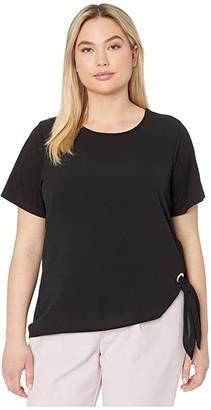 MICHAEL Michael Kors Size Woven Mix Tie Short Sleeve Tee (Black) Women's Clothing