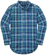 Polo Ralph Lauren Poplin Plaid Long Sleeve Button Down Shirt (Big Kids)
