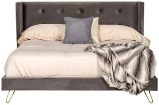 VIG Furniture Modrest Bryan Modern Gray Velvet and Gold Bed, Eastern King