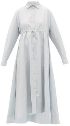 Brock Collection Dip-hem Cotton-blend Shirt Dress - Womens - Light Blue