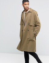 Asos Twill Trench Coat With Oversized Storm Flap