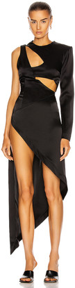 David Koma One Sleeve Cutout Asymmetric Dress in Black | FWRD