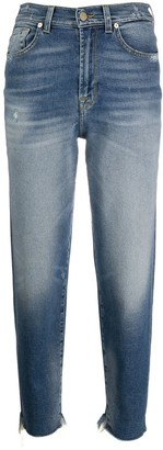 7 For All Mankind Cropped Raw-Cut Hem Jeans