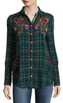 Johnny Was Bonnie Jasmine Plaid Embroidered Shirt, Multicolor, Petite