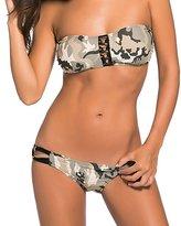 LEO BON Womens Light Camouflage Pattern Bandeau Low Rise Bikini Swimsuit