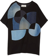 Junya Watanabe Denim-appliquéd Crepe Top - Black