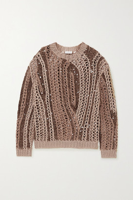 Brunello Cucinelli Opera Sequin-embellished Open-knit Cotton-blend Sweater - Camel