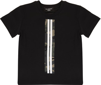 Neil Barrett Black Kid T-shirt With Camouflage Detail