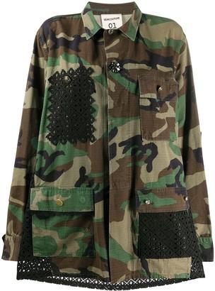 Semi-Couture Lase Cut Panels Camouflage Jacket