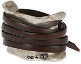 Uno de 50 Leather Strap Accented Cuff Bracelet