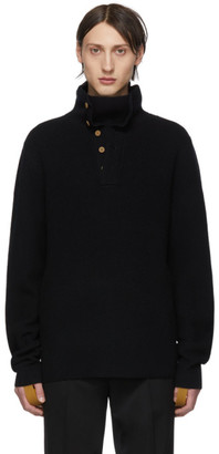 Helmut Lang Black Henley Roll Neck Sweater
