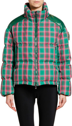 Moncler Chou Plaid Puffer Jacket w/ Contrast Shoulders
