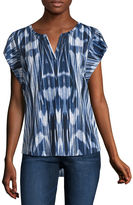 Liz Claiborne Sleeveless Split Crew Neck T-Shirt-Womens