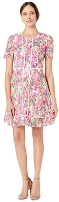 Maggy London Paint Brush Garden Printed Cotton Eyelet Short Sleeve Fit and Flare (Soft White/Multi) Women's Dress