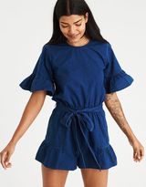 American Eagle Outfitters AE Tie-Front Ruffle Sleeve Romper