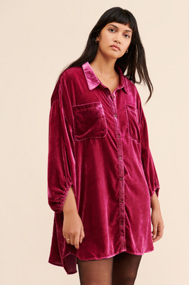 Free People Lux Velvet Shirtdress