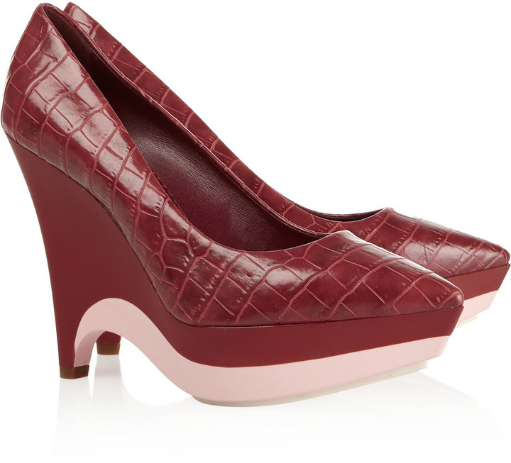 Stella McCartney Croc-effect faux leather pumps