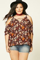 Forever 21 FOREVER 21+ Plus Size Floral Lace-Up Top